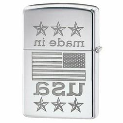 Zippo 29430 Made in USA with Flag High Polish Chrome Finish