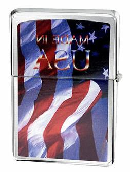 Zippo Lighter 24797 Made In Usa Flag Brushed Chrome Windproo