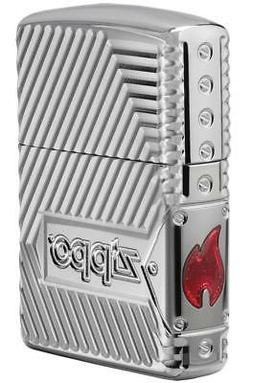 Zippo Windproof Armor Lighter With Design & Logo, Bolts Desi