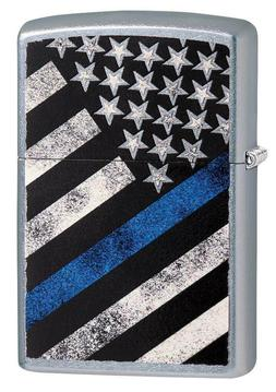 Zippo Windproof Lighter With American Flag, Blue Line Flag,