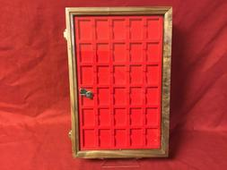 Zippo lighter walnut wood display case with 30 compartment h