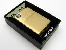 ZIPPO Full Size BRUSHED BRASS w/ SOLID Brass Engraved Lid Cl