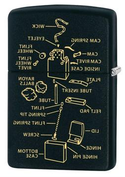 Zippo Lighter: Anatomy of a Lighter, Engraved - Black Matte