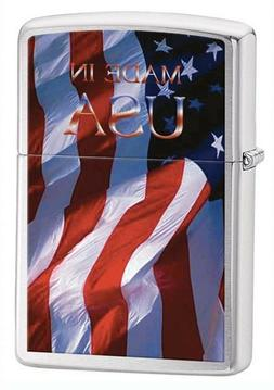 """Zippo Pipe Lighter: American Flag """"Made in USA"""" - Brushed Ch"""