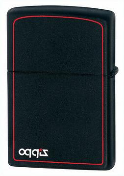 Zippo Windproof Black Matte Lighter With Logo & Border, 218Z