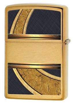 Zippo Windproof Brushed Brass Lighter, Gold & Black, 28673,