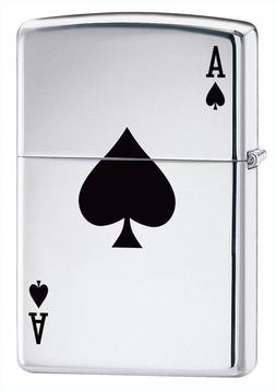 Zippo Windproof High Polished Chrome Lucky Ace Lighter,  240