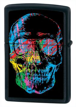 Zippo Windproof Skull Lighter, Finish Is Black Matte, 28042,