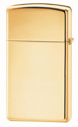 Zippo Windproof, Slim High Polished Brass Lighter, 1654B,  N